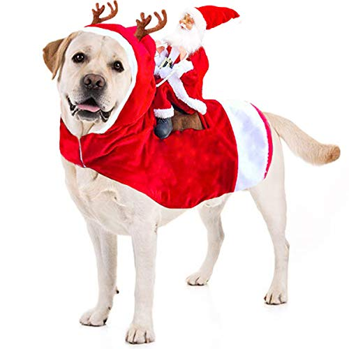 Kyerivs Christmas Pet Costume Running Santa Riding on Dog Pet Cat...