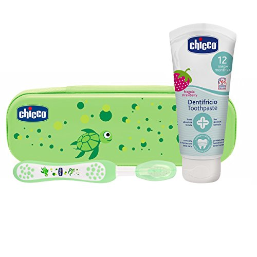 Chicco Set Dentale per Bambini, L'Astuccio Contiene Un Dentifricio 12 Mesi + e Uno Spazzolino, Verde