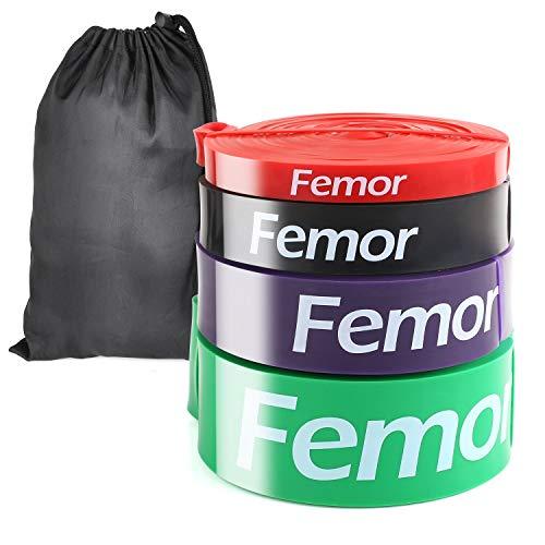 FEMOR Elastici Fitness 2080mm, Set da 4, Elastici Fitness Resistenza 10-120Lb, Elastici Fitness...