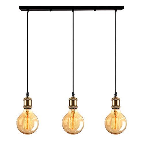 iDEGU Lampadario a sospensione stile vintage Edison 3 luci lampada a sospensione in metallo con...