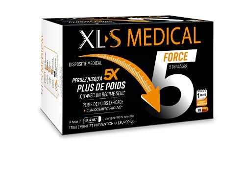 XL-S MEDICAL Force 5 - Une aide à la perte de poids efficace cliniquement prouvée (1) - Aide à perdre jusqu'à 5 x plus de poids qu'avec un régime seul (1) - Boîte de 180 Gélules pour 1 mois