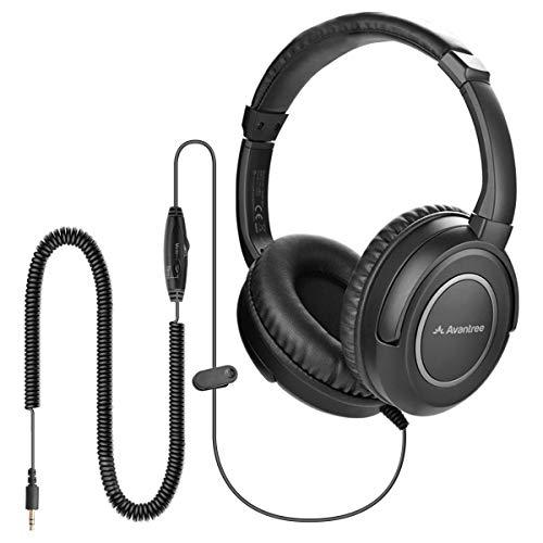 Avantree HF039 Cuffie Con cavo a spirale extra lungo per TV, 5 Metri, Cuffie Over-ear, uscita audio 3.5mm, cuffie audio stereo con controllo del volume sul filo