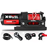 X-BULL 12V 3000LBS Synthetic Rope Electric Winch for Towing ATV/UTV Off Road with Mounting Bracket Wireless Remote New