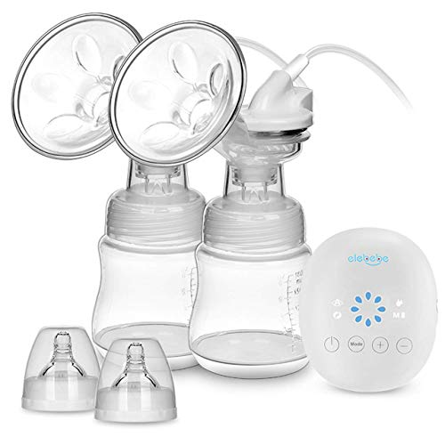 Elebebe Electric Double Breast Pump - Portable Breast Pump Kit, Quiet & Hygienic, 8 Levels of Suction & 3 Modes, Perfect Massage and Breastfeeding Assistant, No Harm Medical Grade Breast Pump
