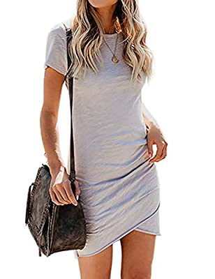 Material has generous amount of stretch.65%COTTON+35%POLYESTER. NICE FABRIC makes the ruched mini dresses soft, stretchy and comfortable.It is thick enough and not see through. Short sleeve dress, knee length tshirt dresses,crew neck mini dress, stre...