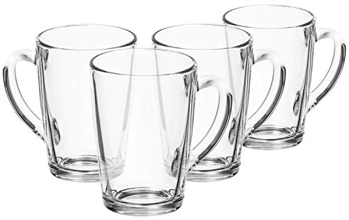 com-four® 4x Bicchiere da Tè - Tazze in Vetro con Manico - Ideale per Tè, Cioccolata Calda, Caffè e Cappuccino (04 pezzi - 315ml)