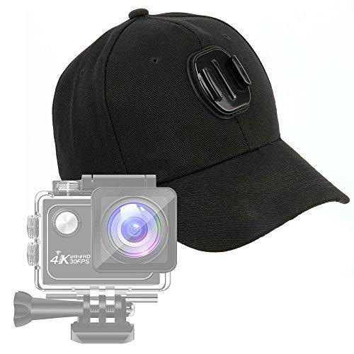 DURAGADGET Cappellino da Baseball con Supporto per Action Cam Panlelo V6, Panlelo V5, Hawkeye Firefly 8SE – Taglia Unica – Colore Nero