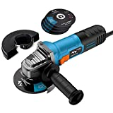Angle Grinder 860W Tilswall 125mm Side Disc Grinder 12000RPM Tool with 3 Cut Off and 2 Grinding Polishing Abrasive Wheels [Energy Class A+++]