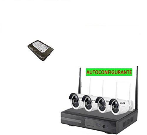Kit Inalámbrico WiFi VIDEO VIGILANCIA Seguridad AMN Profesional AHD DVR Full HD 4 CÁMARAS Disco Duro Incluido Grabación de 320GB 6GG (SOBRESCRIBIR en Automático)