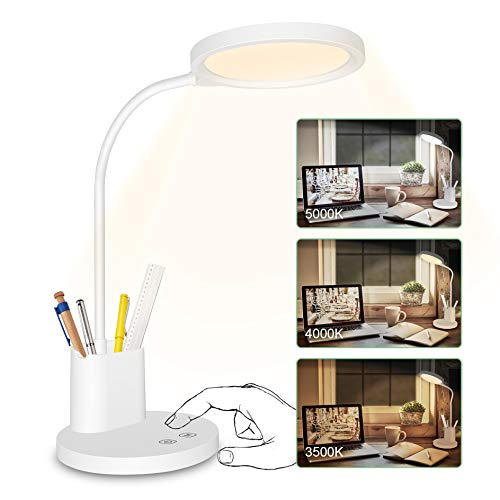 LED Desk Lamp Stepless Dimmable 3 Color Modes Rechargeable Touch...