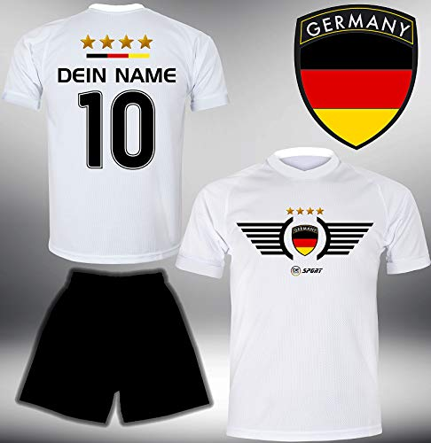 Deutschland Trikot Set 2018 mit Hose GRATIS Wunschname + Nummer im EM WM Weiss Typ #DE2th - Geschenke für Kinder Erw. Jungen Baby Fußball T-Shirt Bedrucken