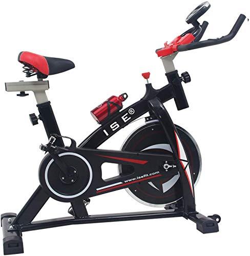 ISE Indoor Cycle Ergometer Heimtrainer mit LCD Anzeige,Armauflage,Puls&gepolsterte,8kg Schwungrad,Fitnessbike Speedbike mit Riemenantrieb-Fahrrad Ergometer bis 135Kg SY-7802