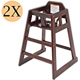 Wooden high Chair for Babies, Infants and Toddlers + highchair Safety Straps, for Restaurant and Home use, Mahogany, 2 Pack.