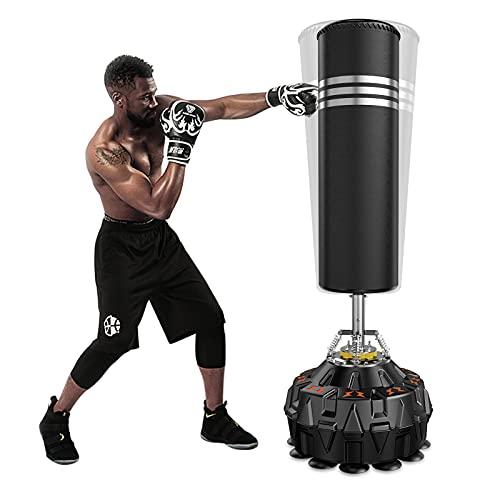 Dripex Saco de Boxeo de Pie para Adultos, Compañero de Boxeo de MMA, Entrenador de Boxeo, Resistente, con Base de Succión, Rellenable de Arena 80kg /Agua 60kg Aprox
