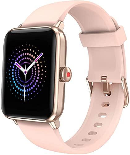 Smartwatch für Damen und Herren, Smartwatch für Kinder, Smartwatch Touch, wasserdicht, Smart-Armband für Sport, Schrittzähler, Cardio, vibrierende Smartwatch, Fitness-Tracker, Walking, Laufen (Rosa)