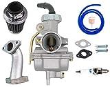 PZ20 20mm Carburetor for Kazuma Baja 50cc 70cc 90cc 110cc 125cc TaoTao 110B NST SunL Chinese Quad 4 stroke ATV 4 wheeler Go kart Dirt Bike Honda CRF50F XL75 CRF80F XR50R with Air Fuel Filter