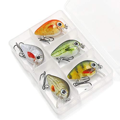 Njord Kalastus - Mini wobbler per trota, pesce persico, luccio, cavedano, luccioperca, extra piccolo solo 2,6 cm di lunghezza e 2 g di peso, esca per trote, 5 scatole galleggianti 3