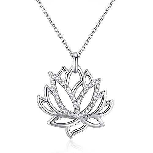 Friggem Flor de loto collar y colgante de plata esterlina co