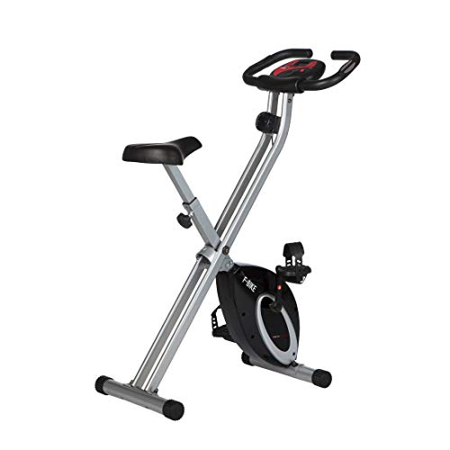 Ultrasport F-Bike, Fahrradtrainer, Heimtrainer, faltbares Fitnessfahrrad mit Trainingscomputer und Handpulssensoren, klappbar, belastbar bis 100 kg, Schwarz