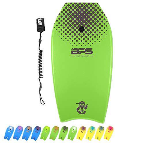 BPS 41 Inch 'Shaka' Bodyboard - Super Lightweight EPS Core Adds Speed Improve Balance - Beginners Pro Surfers Board - Comes with Black Wrist Coiled Leash (Green, Purple Accent)