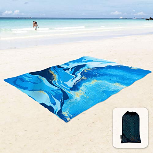 Sunlit Silky Soft Sand Proof Beach Blanket Sand Proof Mat with Corner Pockets and Mesh Bag 6' x 7' for Beach Party, Travel, Camping and Outdoor Music Festival, Ocean Blue Water Flow, Quicksand