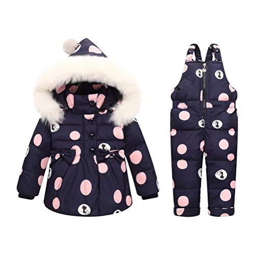 Odziezet Snowsuit da Unisex Bambini 0-3 Anni Tuta da Sci Piumino Stampato Trapuntato + Salopette 2 Pezzi Tutone Inverno
