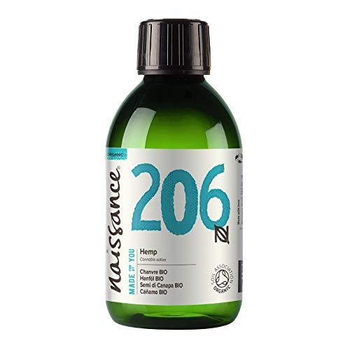 Naissance Aceite Vegetal de Semillas de Cáñamo BIO n. º 206 - 250ml - 100% puro, prensado en frío, virgen, certificado ecológico, vegano y no OGM