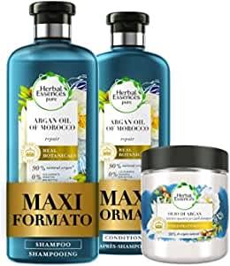 Herbal Essences Olio di Argan: Shampoo 400ml + Balsamo 360ml + Maschera 250ml, Ripara dai Danni, in Collaborazione con Giardini Botanici Reali di Kew