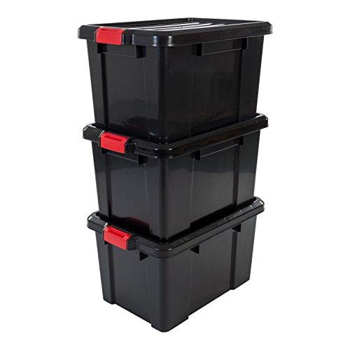 IRIS, 3er-Set Aufbewahrungsboxen \'Power Box\', SK-450, mit Klickverschlüssen, Plastik, schwarz, 50 L, 59 x 38,5 x 32 cm