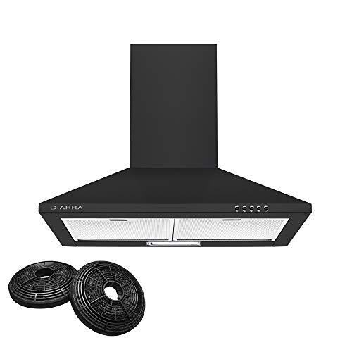 CIARRA CBCB6201 Cappa Aspirante 60 cm, 370 m/h Cappa da Cucina in Acciaio INOX,3 gradini,Extra Silenzioso (Nera)