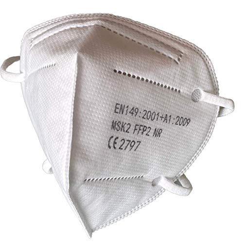 ISN mask2 - FFP2 / KN 95 Maschera Facciale di Protezione Respiratoria, Antipolvere, Imbustate singolarmente - Mascherina 5 Strati Traspiranti Certificata CE Confezione da 10 pezzi