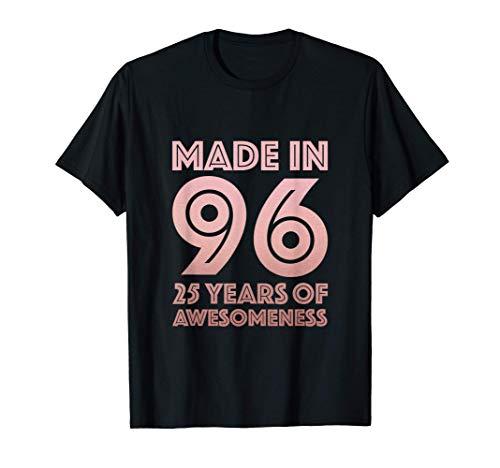 Regalos de 25 cumpleaños Hombre Mujer 25 años Hijo Hija 1996 Camiseta
