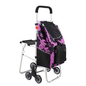 ZGYQGOO Chariot avec siège, Caddie Pliable d'épicerie de magasinage avec la montée d'escaliers