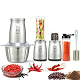 Food Processor, 3 in 1 Set Electric Food Processor 7 PCS Food Chopper Personal Blender 2L Stainless Steel Bowl Kitchen Electric Meat Grinder with 2 Speeds and 4 Bi-Level Blades for Meat, Vegetables, Fruits and Cofffee