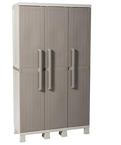 Toomax Armadio Wood Midi 3 Ante con 4 Ripiani, in plastica da Interni ed Esterni, Dim. 97x37x173 cm, Art. 269, Colore Grigio Tortora/Grigio Chiaro