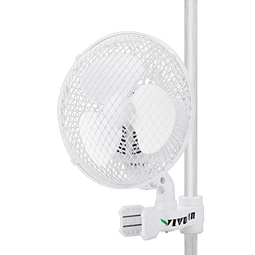 VIVOSUN 6 Inch Clip on Fan Grow Fan Fit for 0.59 to 1 Inch Grow Tent Pole Oscillating Fan with 2-Speed Control