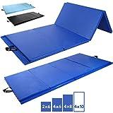 Day 1 Fitness Folding Gymnastics Gym Mat  – 4'x10' Royal Blue - High-Density Foam, Exercise, Yoga, Gymnastics, Crossfit, Aerobics, Tumbling Mats - Eco-Friendly Foldable Pads
