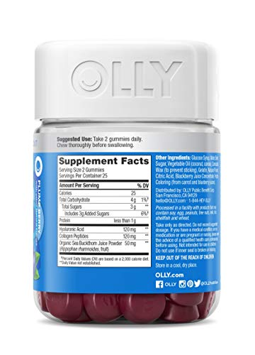 OLLY Glowing Skin Gummy, 25 Day Supply (50 Count), Plump Berry, Hyaluronic Acid, Collagen, Sea Buckthorn, Chewable Supplement (Packaging May Vary) 7