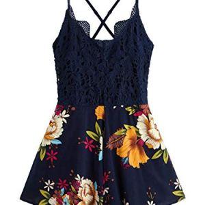 SheIn Women's Boho Crochet V Neck Halter Backless Floral Lace Romper Jumpsuit 50