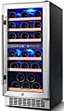 AAOBOSI Wine Cooler Refrigerator 15 Inch Dual Zone Wine Fridge for 30 Bottles Built in or Freestanding Compressor Wine Chiller with Temperature Memory | Fog Free, Front Vent, Quick and Quiet Operation
