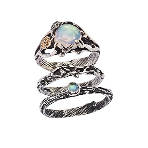Set of 3 Cleo+Mio+Dew Rings READY TO SHIP Moonstone...