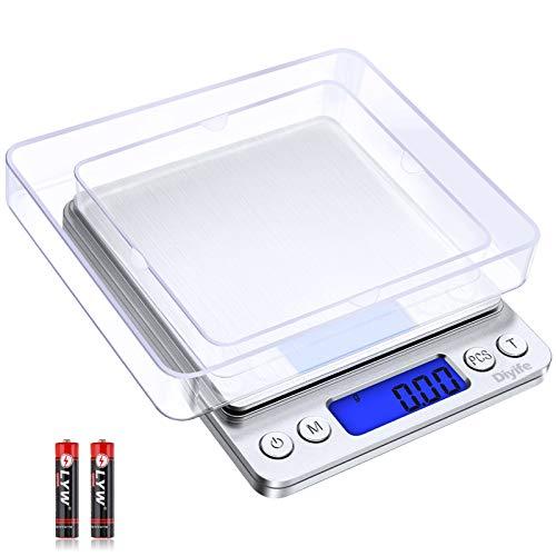 Diyife Báscula Digital de Cocina, 0.01g/500g Báscula Electrónica de Cocción de Alimentos con Pantalla LCD Báscula de Pesaje de Plataforma de Acero Inoxidable Báscula para Hornear y Cocinar