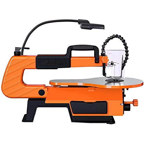 Scroll Saw With Rotary Tool, 16-inch, 500-1700 SPM Unique Pedal Switch, Variable Speed Scroll Saw, 4 Blades, Cast Aluminium Base, Work lamp-TLSS01A