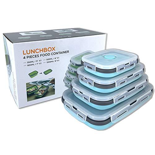 Beeptrum Recipientes plegables de silicona para almacenamiento de alimentos, paquete de 4 unidades (azul y gris)