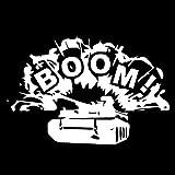 WBXZY 17.5CM * 11.6CMBhermoso Original Word Boom Chariot Tank Car Vinly Decal Car StickerNegro / SilverC27-1228-Plata