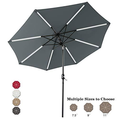 ABCCANOPY 9FT Patio Umbrella Solar Powered Outdoor Umbrella, Market Umbrella with 8LED Lights Bars, Push-Button Tilt and Crank for Garden, Deck, Backyard and Pool,4+Colors (Dark Gray)