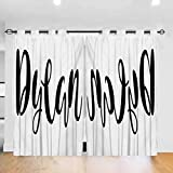 Dylan Room Darkening Curtains for Living Room Monochrome Arrangement of Letters Stylized Font Design Hand Drawn Typography Room Darkening Blackout Drapes,bunk Bed Curtains Black and White W104 X L108