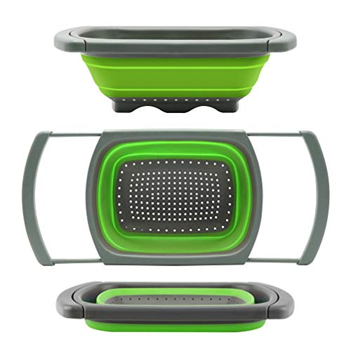 Qimh Colander collapsible, Colander Strainer Over The Sink Vegetable/Fruit Colanders Strainers With Extendable Handles, Folding Strainer for Kitchen,6 Quart (Green)