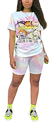 Material:Polyester and Spandex,Skin-friendly fabric, soft and comfortable to wear. Feature:Short sleeve, round neck sweatshirt tops, tie dye printed tracksuit,jogging pants set,loose fit tops and slim fit pants. The workout outfit sets is suitable fo...