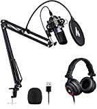 USB Microphone with Studio Headphone Set 192kHz/24 bit MAONO AU-A04H Vocal Condenser Cardioid...